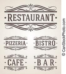 restaurante, etiquetas, café, señal