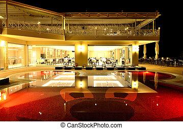 restaurante, halkidiki, grecia, iluminación, piscina de la noche, natación