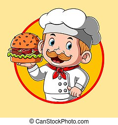 restaurante, hamburguesa, chef, inspiración, logotipo