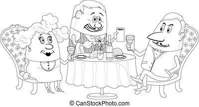 Restaurante, pareja cerca de la mesa, aislada, contorno