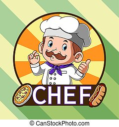 restaurante, pizza, perro caliente, chef, inspiración, logotipo