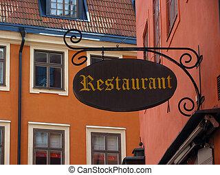 restaurante, viejo, señal