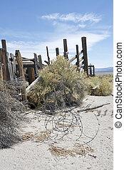 Restos de un viejo rancho de ganado rústico