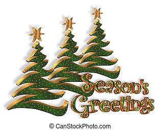 resumen, árboles de navidad, saludo