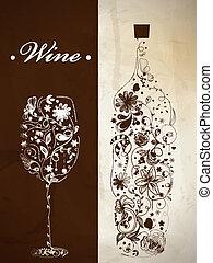 resumen, botella, vino