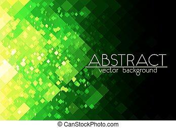 resumen, brillante, fondo verde, cuadrícula, horizontal