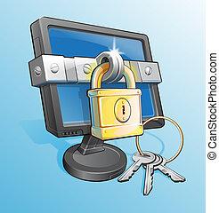 resumen, cerrar con llave, monitor