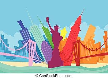 resumen, contorno, ciudad, rascacielos, york, nuevo, silueta