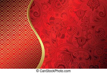 resumen, curva, fondo rojo