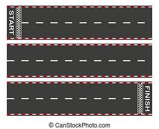 resumen, finish., coche, o, evitar, plano de fondo, asfalto, ir -kart, carreras, comienzo, gráfico, concept., race., cima, vector, camino, vista., elemento