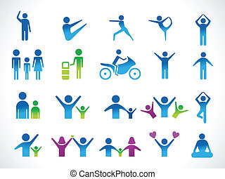 resumen, gente, múltiplo, icono