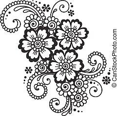 resumen, hand-drawn, mehndi, flor, alheña, ornamento