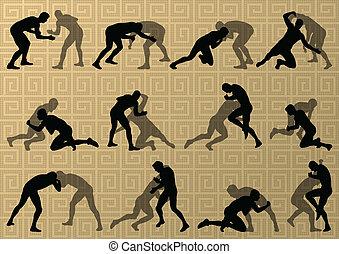 resumen, hombres, lucha, romano, ilustración, griego, siluetas, vector, plano de fondo, activo, deporte