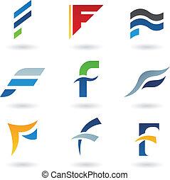 resumen, iconos, f de carta