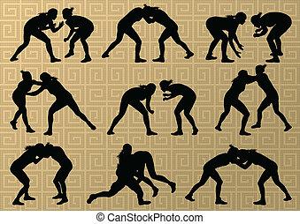 resumen, lucha, joven, ilustración, griego, romano, vector, plano de fondo, activo, siluetas, deporte, mujeres