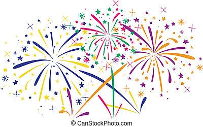 resumen, muy lleno, fuegos artificiales, vector, aniversario