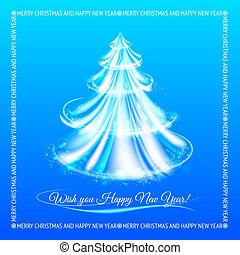 resumen, navidad, azul, árbol, fondo.