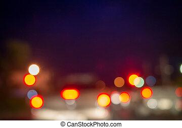 resumen, noche, luces, ciudad