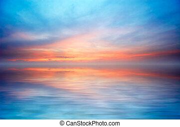 resumen, océano de puesta de sol