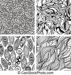 resumen, seamless, mano, patrones, vector, monocromo, dibujado