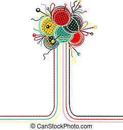 resumen, tejido de punto, pelotas, hilo, composición