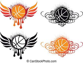 resumen, vector, baloncesto