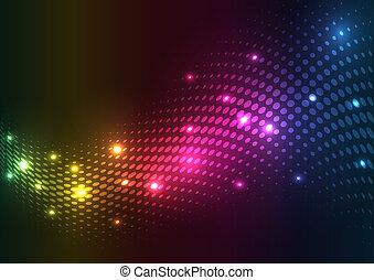 resumen, vector, lights., plano de fondo, halftone
