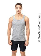 retrato, atleta, muscular, hombre