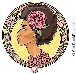 Retrato de bella mujer en la frontera floral