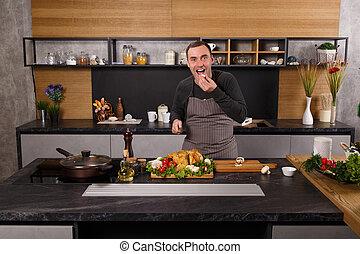 Retrato de cocinero guapo