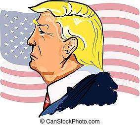 Retrato de color vector web ilustrado del presidente Donald Trump