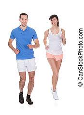 Retrato de dos jogging