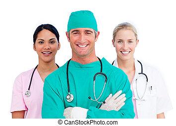 Retrato de equipo médico ambicioso