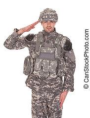 Retrato de hombre con uniforme militar saludando