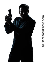 Retrato de hombre silueta con pistola