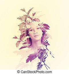Retrato de mujer con hojas