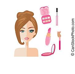 Retrato de mujer, mitad natural, mitad con maquillaje y retocado