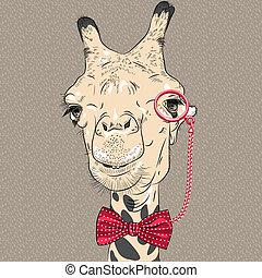 Retrato de primer plano del gracioso camello hipster