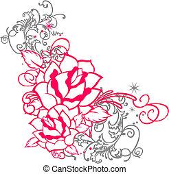 Retrato de rosa con adorno de pergamino