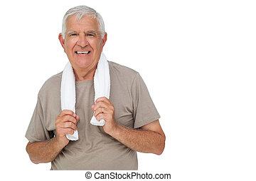 Retrato de un anciano con toalla
