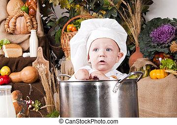 Retrato de un bebé con sombrero de chef