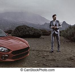 Retrato de un hombre de negocios guapo y rico