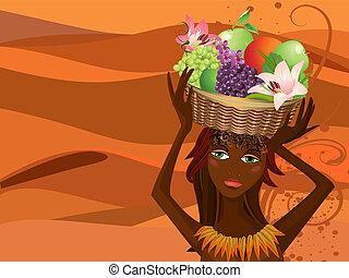 Retrato de un nativo con una cesta de fruta