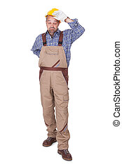 Retrato de un trabajador con dolor de espalda