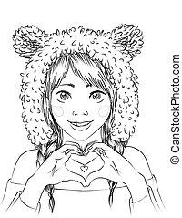Retrato de una chica linda con sombrero de animal.