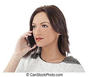 Retrato de una joven en un smartphone
