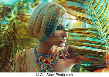 Retrato de una rubia sensual en los trópicos