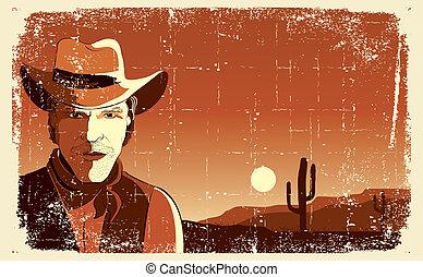 Retrato de vaquero. Vector grunge de fondo