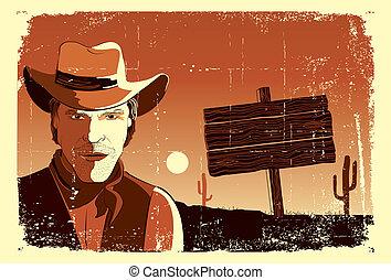 Retrato de vaquero. Vector grunge poster occidental
