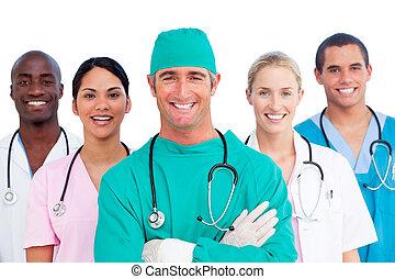 Retrato del exitoso equipo médico